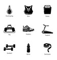 practise icons set simple style vector image vector image
