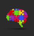 puzzle pieces silhouette brain jigsaw puzzle brain vector image vector image