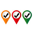 red check mark icon tick symbol in red color vector image vector image