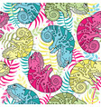 seamless pattern of colorful chameleons in cartoon vector image vector image
