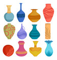 set cartoon ceramic vases colored ceramics vector image