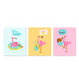 set hello summer banners with pink flamingo vector image vector image