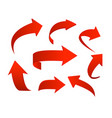 set of red arrow icons vector image vector image
