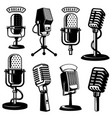 set of retro style microphone icons isolated vector image