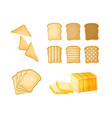 set of slices toast bread icons vector image