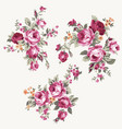 set of vintage chintz flowers design and vector image