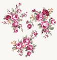 set vintage chintz flowers design and vector image