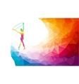 Silhouette of gymnastic girl on rainbow back vector image