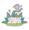 spring flower plant with leaves and dragonflies vector image
