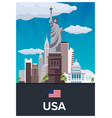 travel poster to usa flat vector image vector image