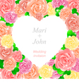 Wedding invitation with a pretty roses vector image