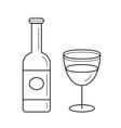 wine bottle line icon vector image vector image