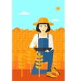 Woman with tablet computer on field vector image vector image