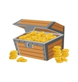 Wooden Chest Filled With Golden Coins Hidden vector image vector image