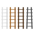 wooden stairs set white brown ladders different vector image vector image