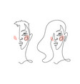 abstract linear male and female portrait modern vector image