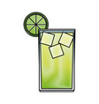 alcohol drink and cocktail glass with lime for vector image vector image