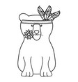 bear grizzly with feathers hat bohemian style vector image vector image