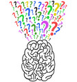 brain with question mark vector image vector image