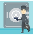 Burglar with gun near safe vector image