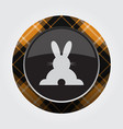 button orange black tartan - rabbit rear view vector image vector image