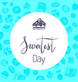 cake sweetest day logo simple style vector image