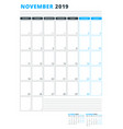 calendar template for november 2019 business vector image