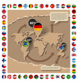 cardboard template with world map and flags vector image vector image