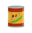 cartoon aluminum can with kidney beans food vector image vector image