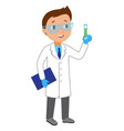 cartoon kid boy scientist character vector image