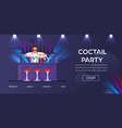 cocktail party bartender at counter prepare drinks vector image