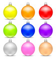 colorful realistic christmas balls set on white vector image