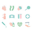 covid19 19 flat style icon set design vector image vector image