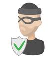 crime insurance icon cartoon style vector image