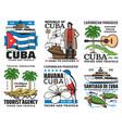 cuba travel symbols landmarks sightseeing tours vector image vector image