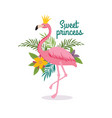 cute cartoon pink flamingo queen with crown sweet vector image vector image