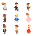 cute children in elegant clothes for official vector image