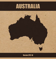 detailed map of australia on craft paper vector image