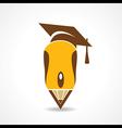 Education concept with graduation cap and computer vector image vector image