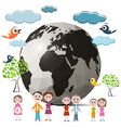Family Members with Globe - Earth and Trees Clouds vector image vector image