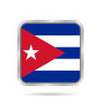 Flag of Cuba Shiny metallic gray square button vector image