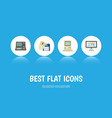 flat icon laptop set of technology computing vector image vector image