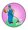 gardener with manual lawn mower vector image vector image