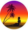 girl on beach under vector image vector image