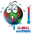 global warming with earth overheated vector image vector image