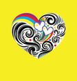 Heart love rainbow vector image