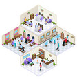 isometric beauty salon interior concept vector image vector image