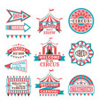 labels in retro style logos for circus vector image vector image
