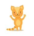 Little Girly Cute Red Kitten Stansing Cartoon Pet vector image