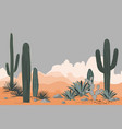 mexico pattern with opuntia agave and saguaro vector image vector image